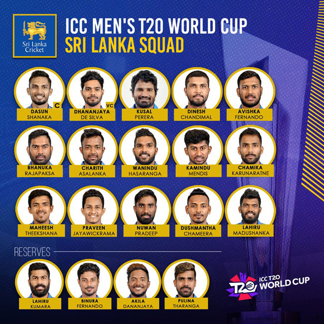 SLC announces 15-member squad for T20 World Cup