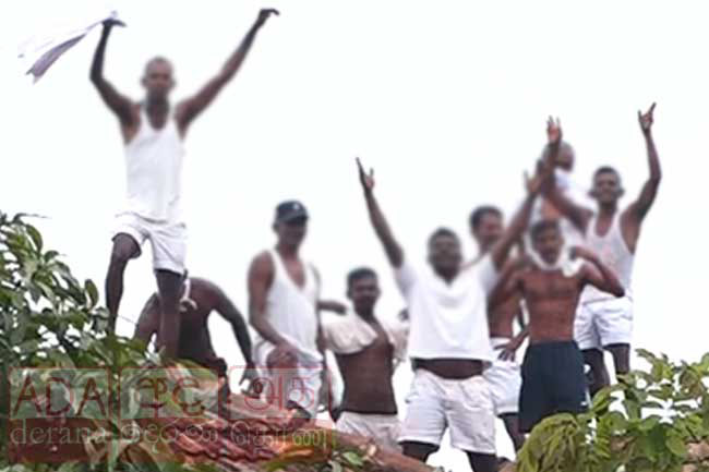 Welikada Prison inmates protest on rooftop