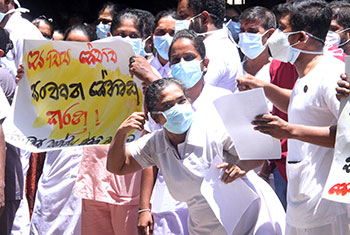 Health workers protest...