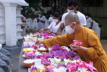 Devotees at Bellanwila Temple for Vap Poya...
