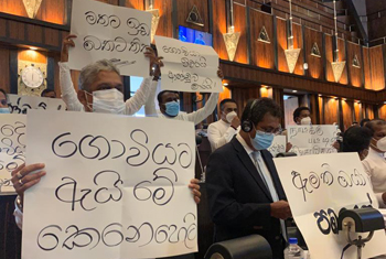 SJB stages protest inside Parliament...